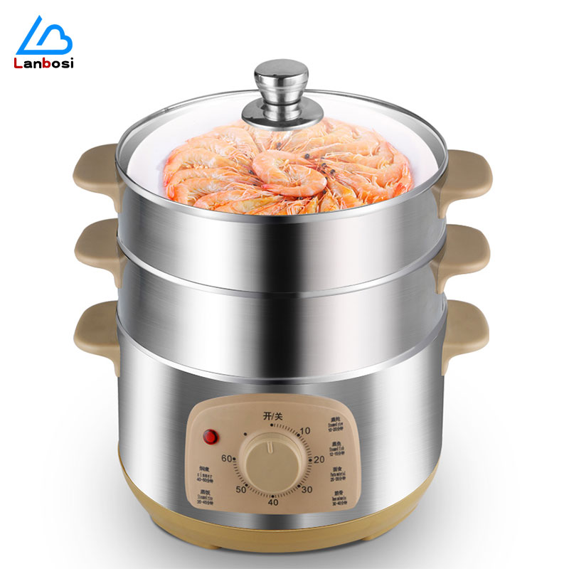 Multifunctional electric steamer household Large-Capacity three-layer steam Automatic Power-Off steaming vegetable hot pot