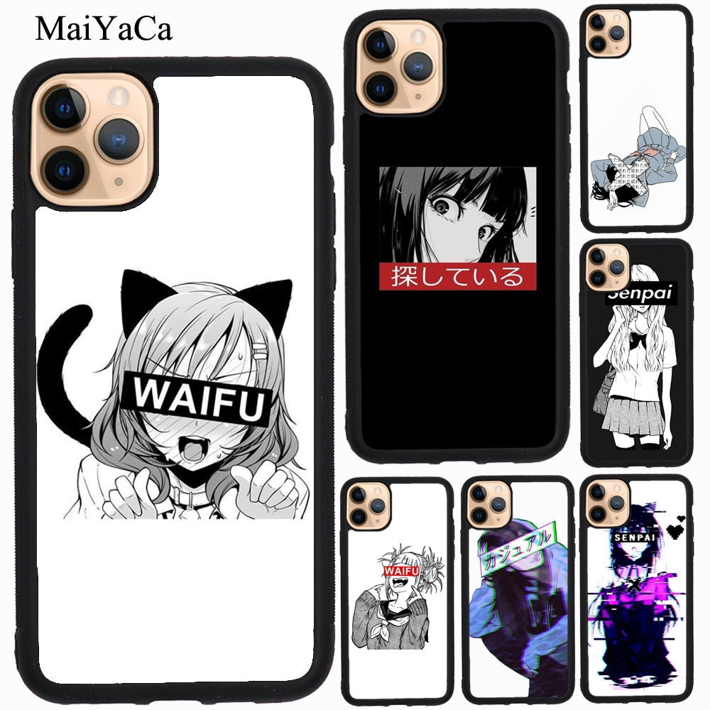 MaiYaCa Anime Manga Senpai Kikuchi chica caso iPhone 11 Pro Max XR X XS X Max 5S SE 2020 6 7 8 Plus Funda
