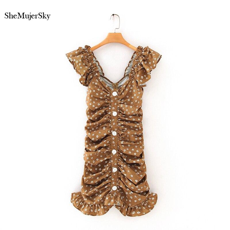 SheMujerSky Brown Women Slim Dress Summer Print Sleeveless Ruched Dresses 2020 Backless Buttons Dress