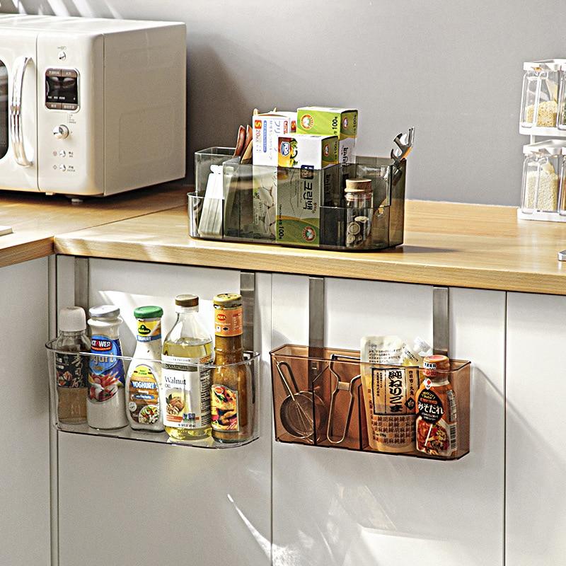 Kitchen Cabinet Door Hanging Shelf Desktop Storage Box Bathroom Hanger Organizer PET Transparent Storage Rack Home Organizer