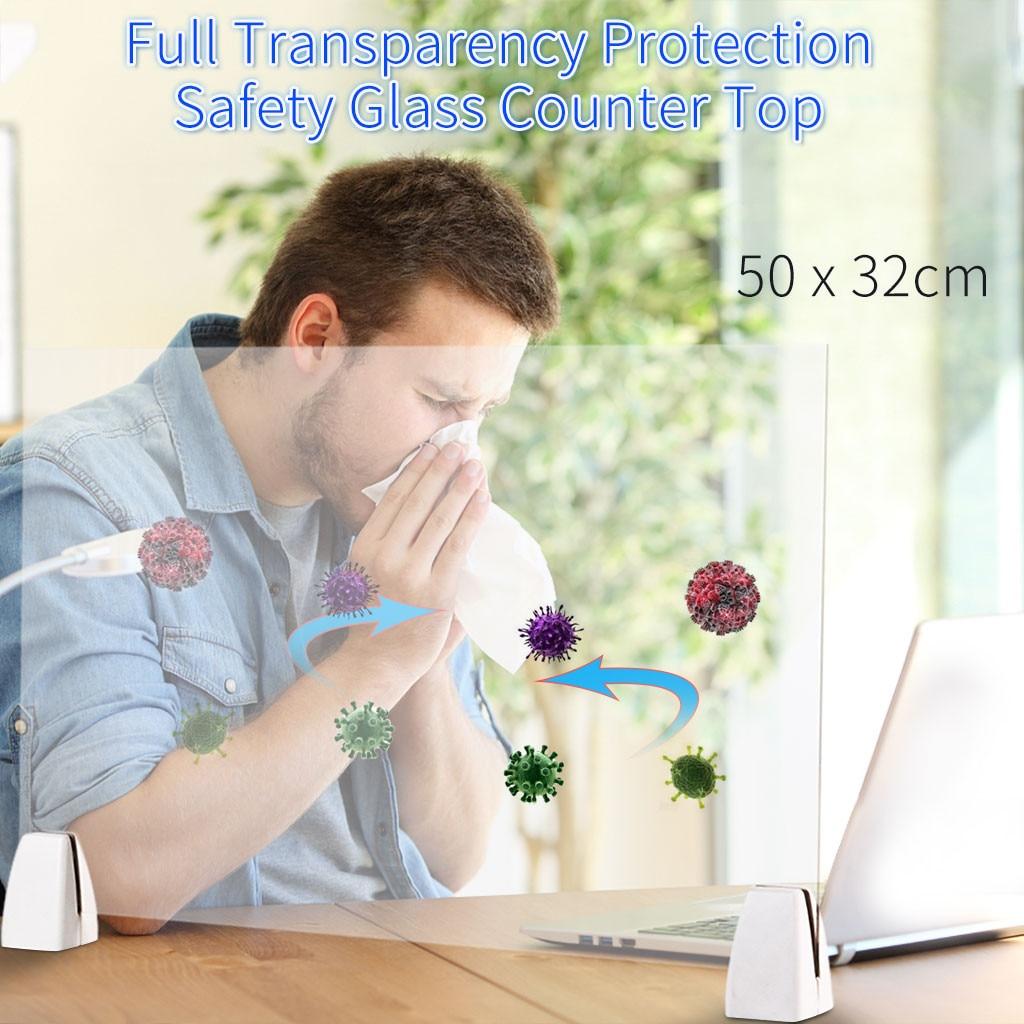 Oferta de recepción lateral de 50x32cm, contra rociado, corte UV, altura transparente, suministros de protección de oficina, Partición de defensa de espuma