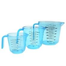 Taza medidora de plástico transparente de 150ml/300ml/600ml, jarras transparentes con mango, utensilios de horneado de cocina