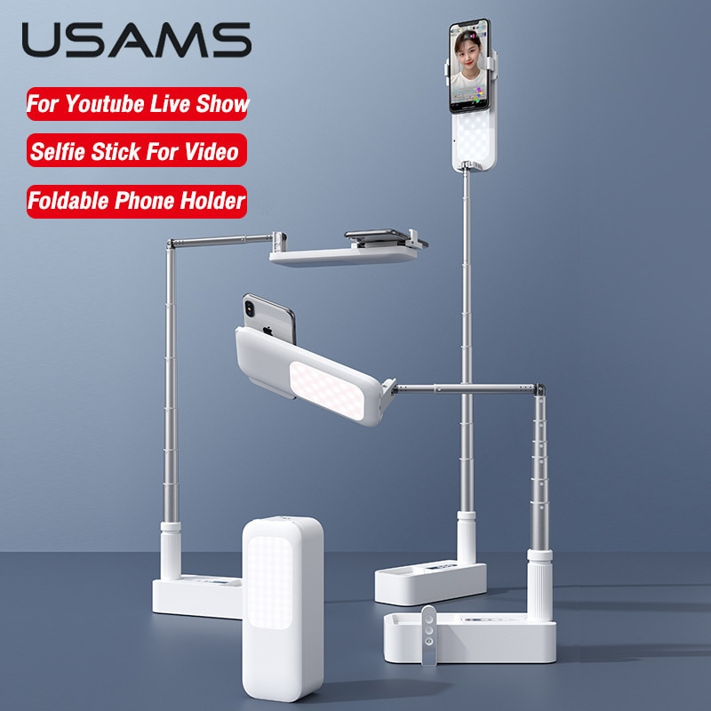 USAMS Portable Phone Holder Retractable Wireless Live Broadcast Stand Wireless Dimmable LED Fill Lig