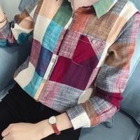 70 hot sell women casual long sleeve turn down collar pocket slim cotton linen plaid shirt