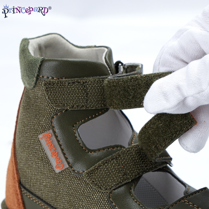 Princepard Summer Children Shoes Toddler Boys Leather Orthopedic Sandals with Arch Support High-Top Correction Boys Sandals enlarge