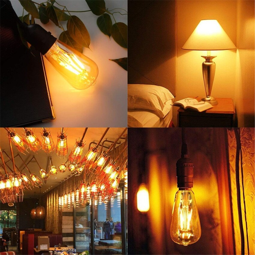LED Edison Bulb Dimmable 6W Vintage Led Light Bulb 60W Equivalent 2200K Warm White 620 Lumen ST64 Led Filament Bulb E26 enlarge
