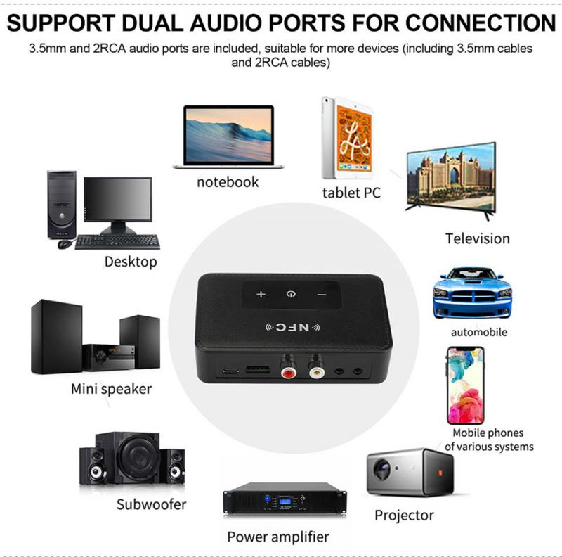 Bluetooth 5.0 RCA Audio Receiver Transmitter 3.5mm 3.5 AUX Jack Music Wireless Adapter With Mic NFC For Car TV Speakers Auto enlarge