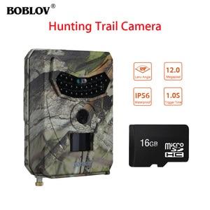 BOBLOV PR-100 12MP 1080P HD LED Hunting Night Vision Trail Wildlife Camera 1S Trigger Time 120 Wide Angle IP56+16GB Photo Traps