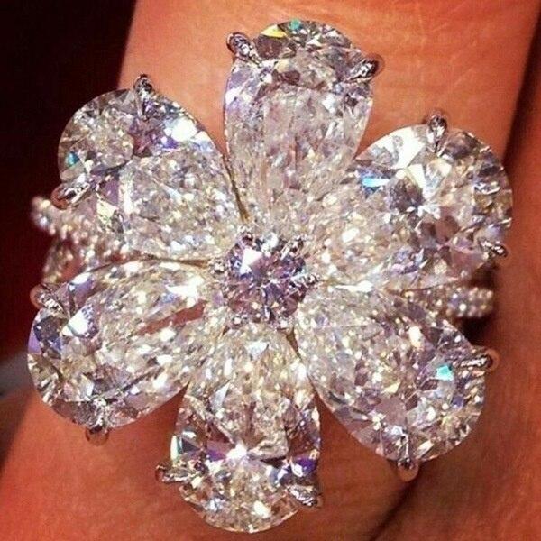 Anillo de mujer de cristal blanco elegante de moda, accesorios de joyería, anillo de compromiso de circón de lujo, regalo de fiesta