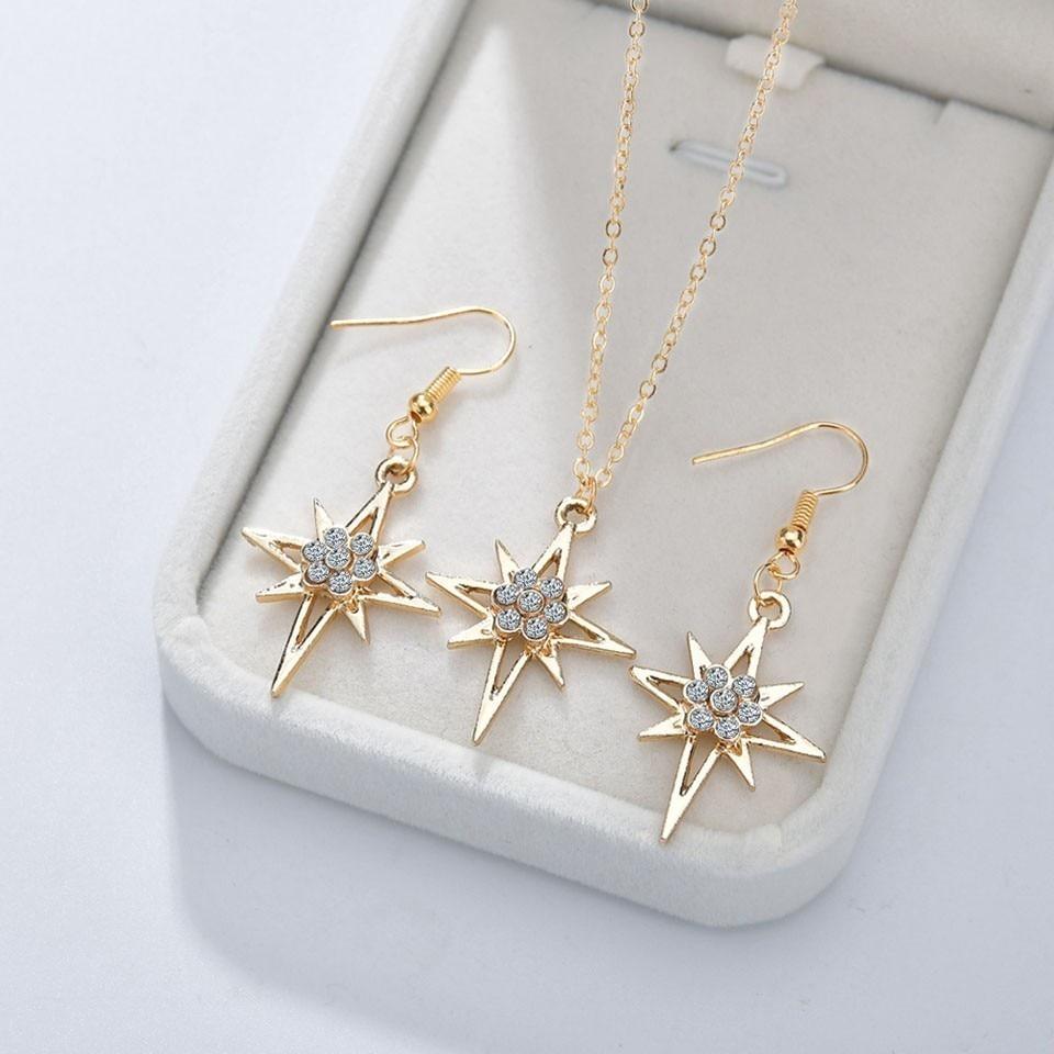 YANGQI 3 шт. женские модные серьги и ожерелье наборы красивая звезда со стразами женские ювелирные изделия женские свадебные ювелирные изделия Золотая цепочка