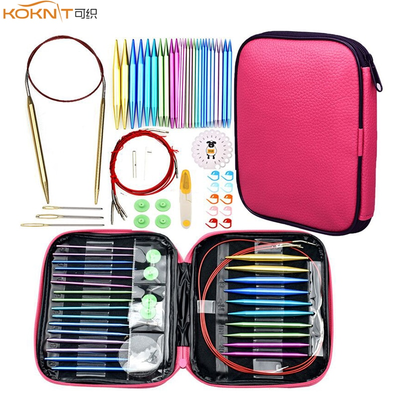 KOKNIT Aluminum Circular Knitting Needles Set 26pc Interchangeable Crochet with Case for Any Patterns & Yarns CK