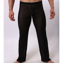 Men's Sexy Lingerie Long Johns Pants Comfortable Thermal Mesh Sheer See-through Underwear Fitness Ti