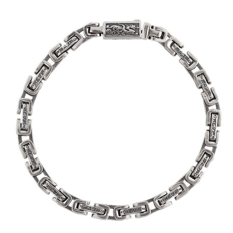 BOCAI جديد ريال S925 فضة مجوهرات ريترو ستة شخصية تعويذة من البوذية الرجال سوار الحرفية حظا سعيدا 2021 العصرية