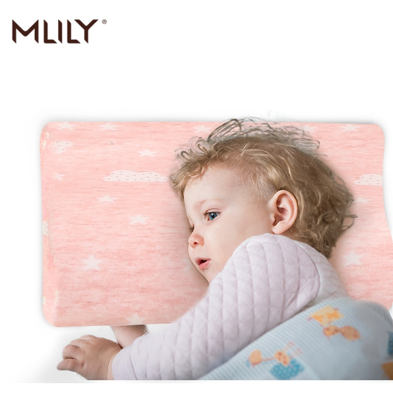 Almohada de espuma de memoria Mlily, cuello Cervical para bebés, almohada transpirable de algodón rosa y azul para dormir