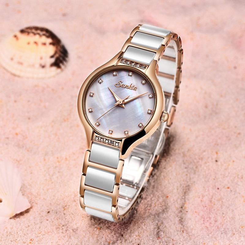 SUNKTA Rose Gold Ceramic Bracelet Watch Women Fashion Womens Quartz Watches Brand Luxury Diamonds Ladies Clock Female WristWatch enlarge