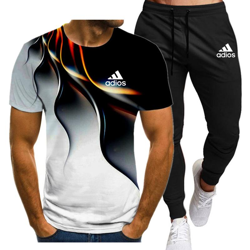 2021New Men's Summer Leisure Sets T-Shirt+Pants Two Pieces Casual Tracksuit Male Sportswear Gym Bran