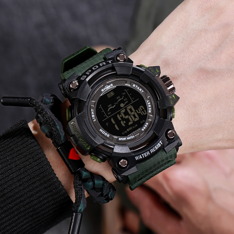 SYNOKE, relojes deportivos para hombre, Reloj resistente al agua, Reloj militar, relojes con cronógrafo LED, Reloj para Hombres