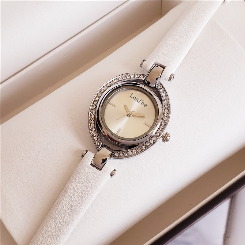 Fashion Diamond Women's Watches Leather Strap Stainless Steel Dial Quartz Watch Black Clock Girl Ladies Favorite enlarge
