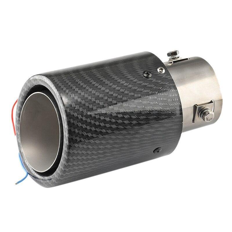 Tubo de escape Universal LED para coche, tubo de punta de silenciador, luz roja, flameado, recto, para coche, modificado, salida única, tubo de escape, garganta trasera