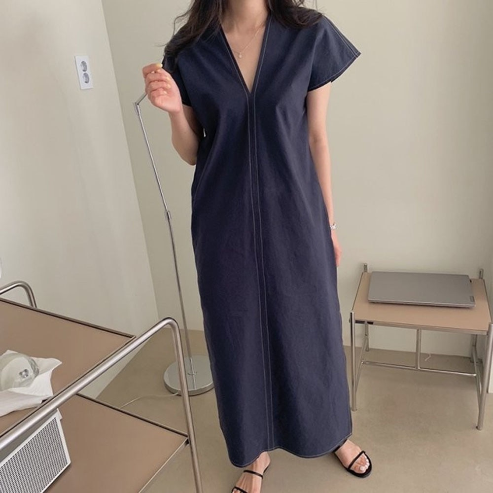 2021 Summer New Japanese Style Simplicity V-neck Split Fork Casual Loose Solid Color Women's Dress S