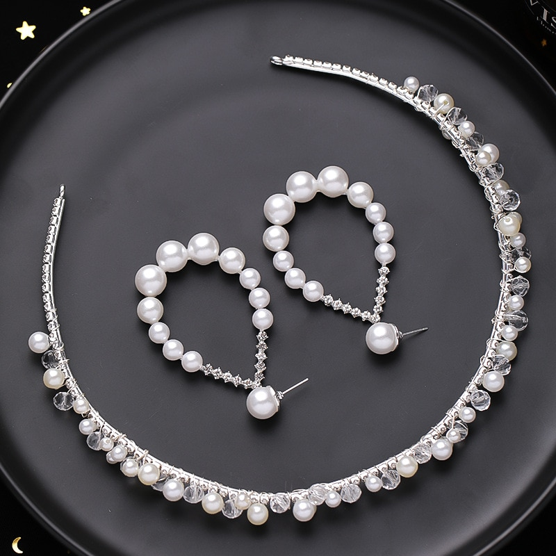 Pérolas brancas frisado headbands brinco conjuntos de jóias noiva tiaras e coroas de noiva hairbands casamento acessórios para o cabelo