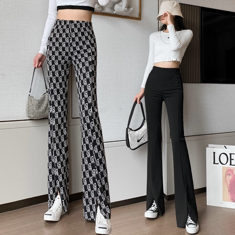 HLM 2021 Flare pants Women Ins Letter Open Pants High Waist Pants Spring and Autumn Plaid Casual Trousers  - buy with discount