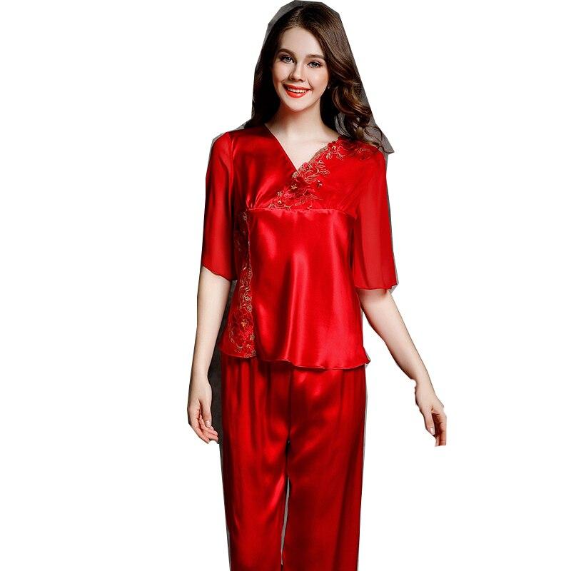 أزياء الحرير المرأة بنطلون بيجاما مجموعات نصف كم الأحمر الخامس الرقبة مع الدانتيل التطريز صالة مجموعة كاملة 2 قطعة كم بيجامة