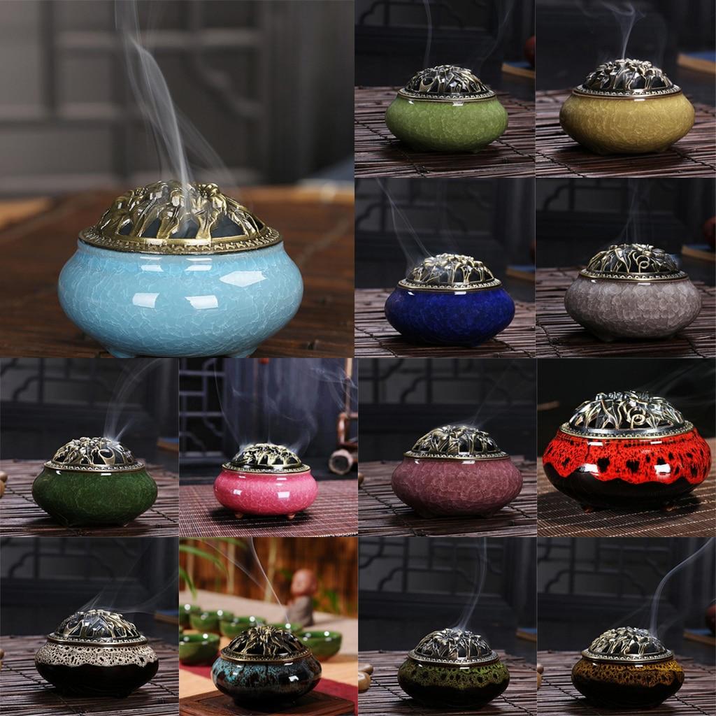 Quemador de incienso de cono con cubierta de aleación chino tradicional de porcelana sándalo incensario de cerámica incienso Ash Catcher bandeja Bowl