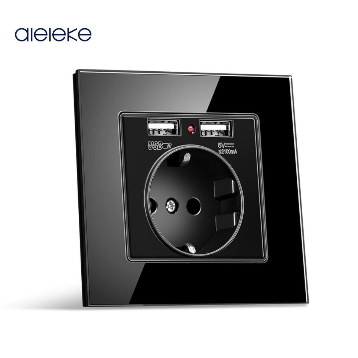 Aleleke 16A الجدار مقابس كهربائية مع USB للهاتف المحمول شحن الألمانية المقبس الأبيض كريستال زجاج لوحة التوصيل AC110-220V