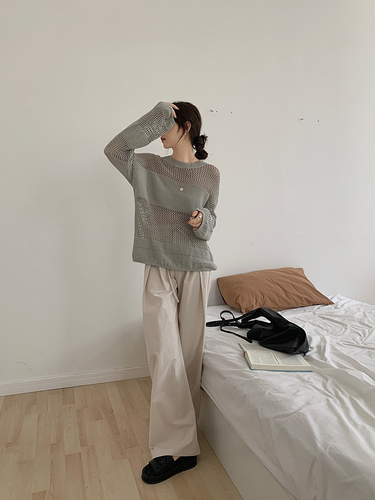 Hollow Out Thin T-shirt  Blouse Women's Summer 2021 New Lazy Loose Round Neck Long Sleeve Pullover S