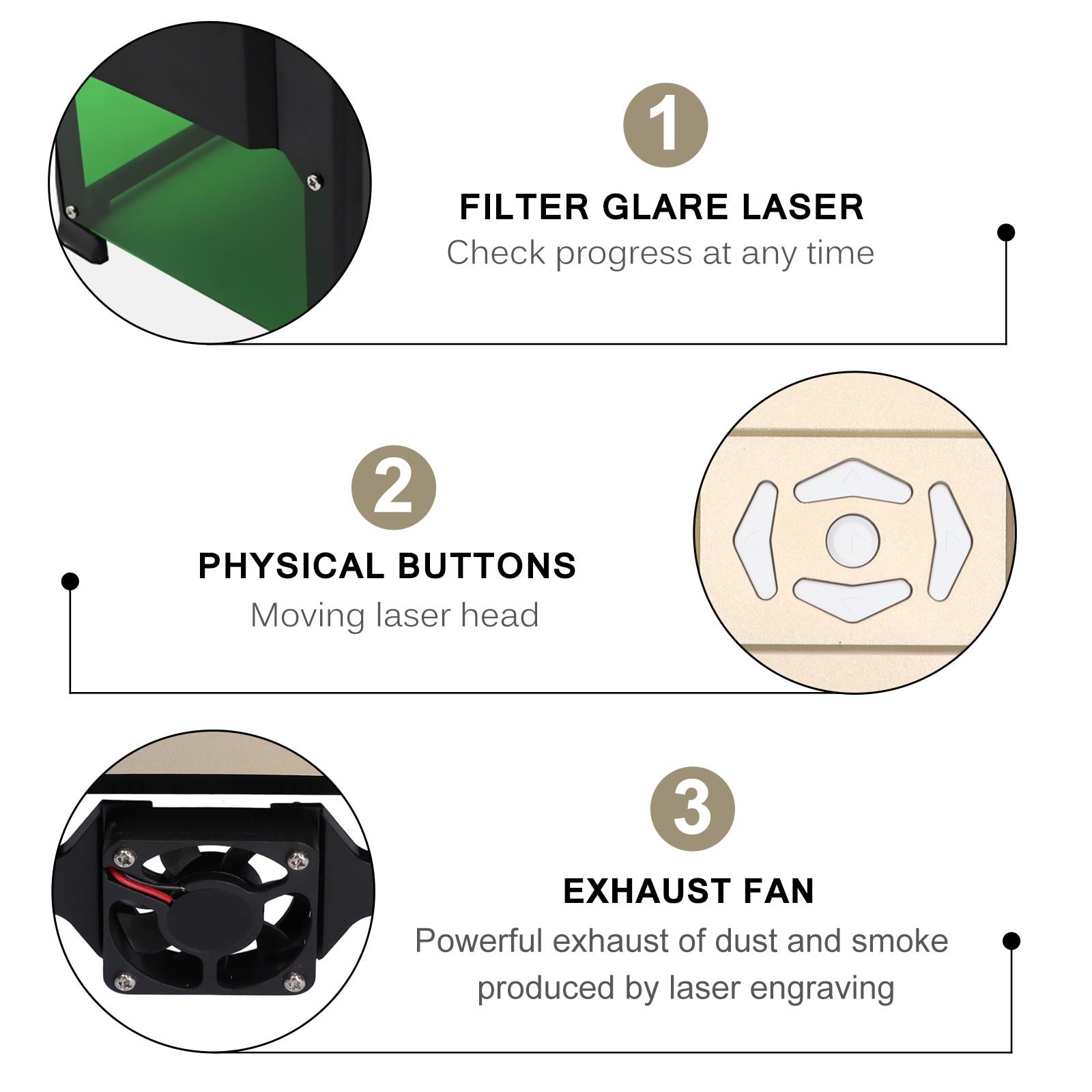 3000mw CNC Laser Engraver Mini Engraving Machine Household Desktop Printer 80x80mm/3.14x3.14in Engraving Range Engraver Machine enlarge