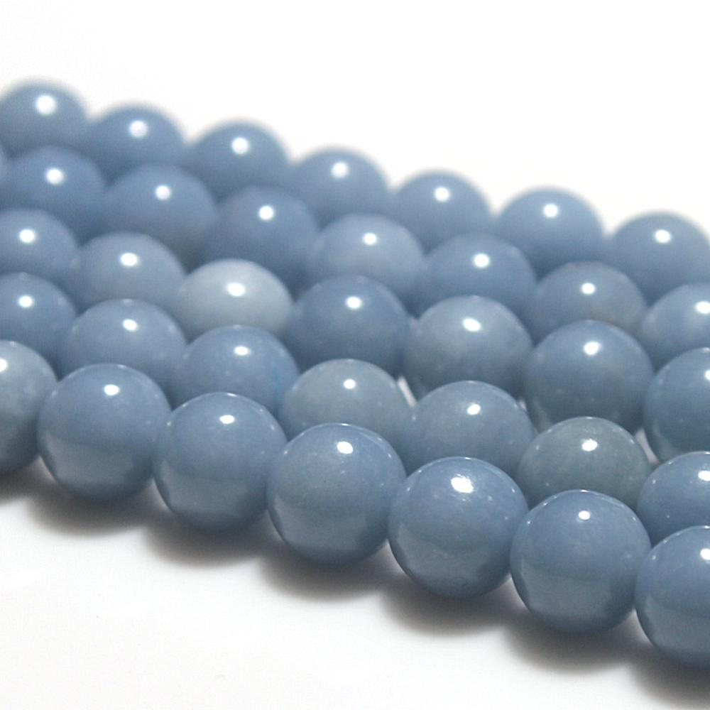 Natural Round Blue Angelite Gemstone Loose Beads 4 6 8 10 12mm For Necklace Bracelet DIY Jewelry Making 15inch Strand