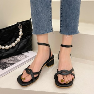 Roman Sandals 2021 Summer New High Heeled Sandals Thick Heels  Buckle Strap Women's Shoes Gladiator Sandalias Mujer Pumps Shoe