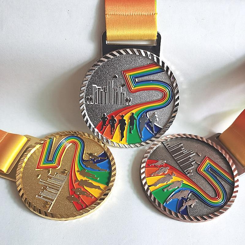 Новый цветной металлический медаль, медали, сувениры, значки, медаль марафона, золотая медаль с хорошей лентой, школьный спорт, металл 6,8 см