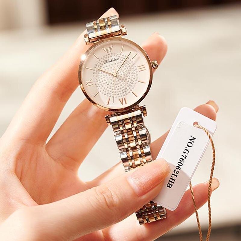 Новинка 2021, золотые женские часы, женские часы, креативные женские часы со стальным браслетом, женские водонепроницаемые часы, женские часы