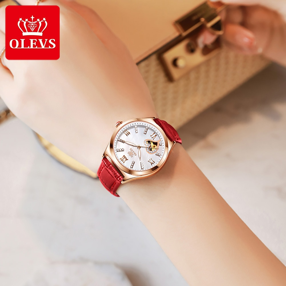 OLEVS Fashion Watches for women Automatic Mechanical Wristwatch Breathable Leather Bracelet Waterproof ladies watch Gifts enlarge
