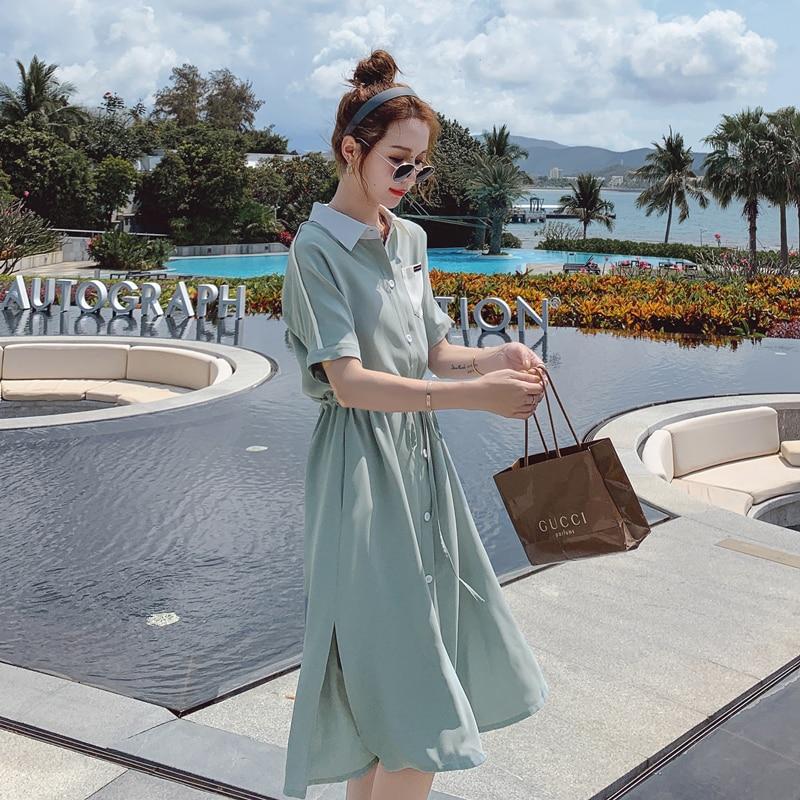 CMAZ Dresses For Women Summer 2021 Korean Style Shirt Dress Short Sleeve Office Lady Loose Dress Female Vestidos