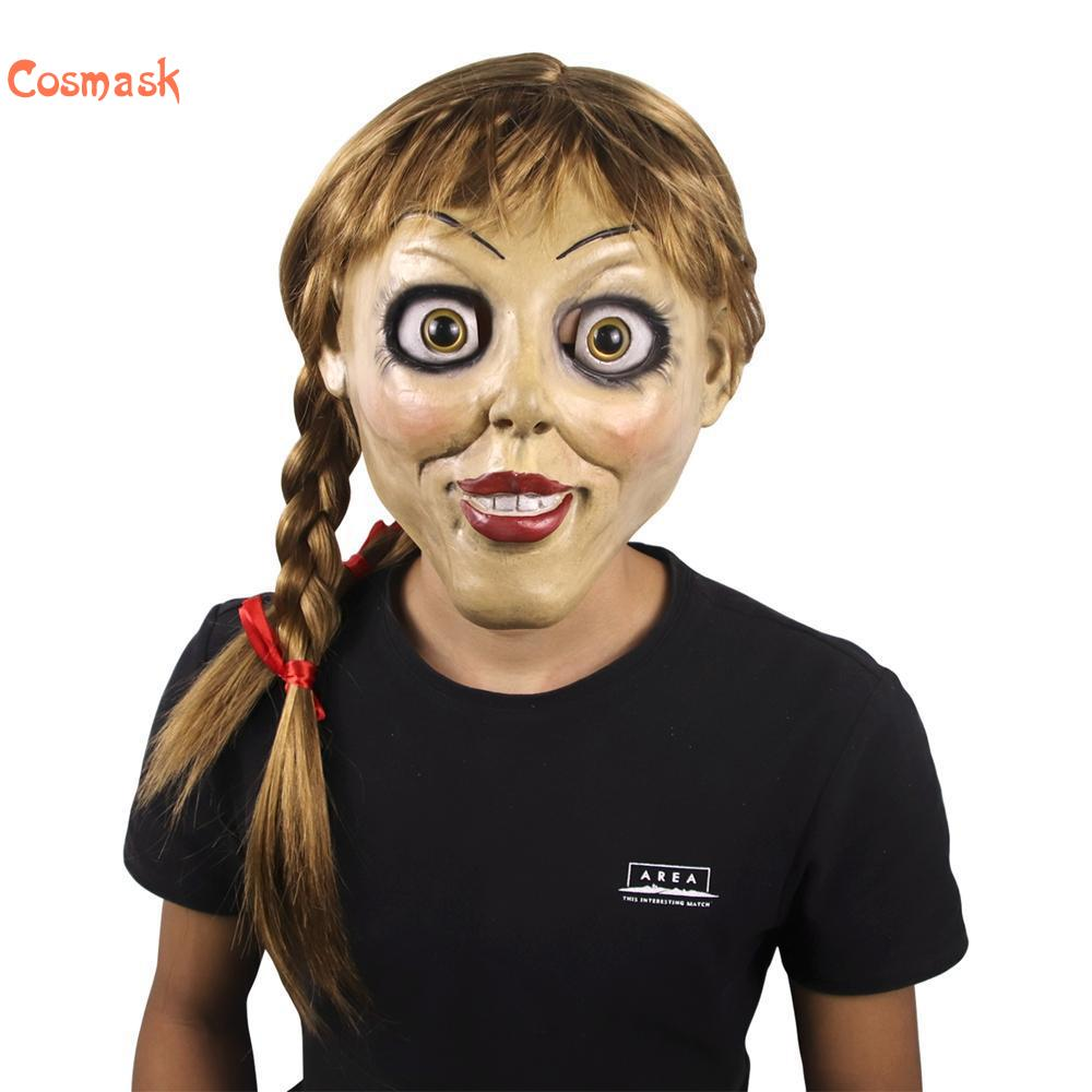 Cosmask Halloween Annabelle Cosplay Mask Latex Cosplay Annabel Doll Scary Movie Adult Full Head Latex Wigs Ponytails Party Mask