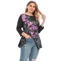 sale women long sleeve 3d floral print t shirt 2021 new autumn casual loose irregular tops fashion female tees plus size 5xl d30