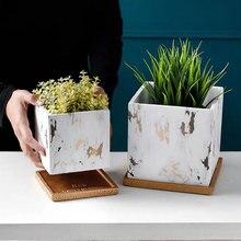 Moule à fleurs géométrie béton silicone   Bricolage 2 pièces/moule carré stylo rond porte-boîte de rangement, vase de plante à ciment