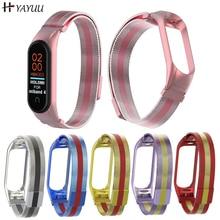 YAYUU montre intelligente Bracelet pour Xiaomi Mi bande 4 3 MiBand 3 4 Bracelet en métal Bracelet en acier inoxydable Bracelet de montre mi bande 3 4