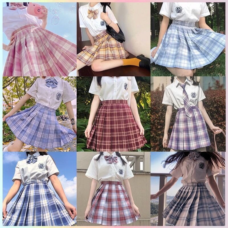 UVRCOS Japanese Collection Jk Uniform Pleated Skirt Female Lattice Skirt Gentle One-Cut Skirt Suit Student Uniform College Style japanese collection jk skirt pleated skirt lattice skirt cute pleated half body women s short jk uniform sweet lolita dress