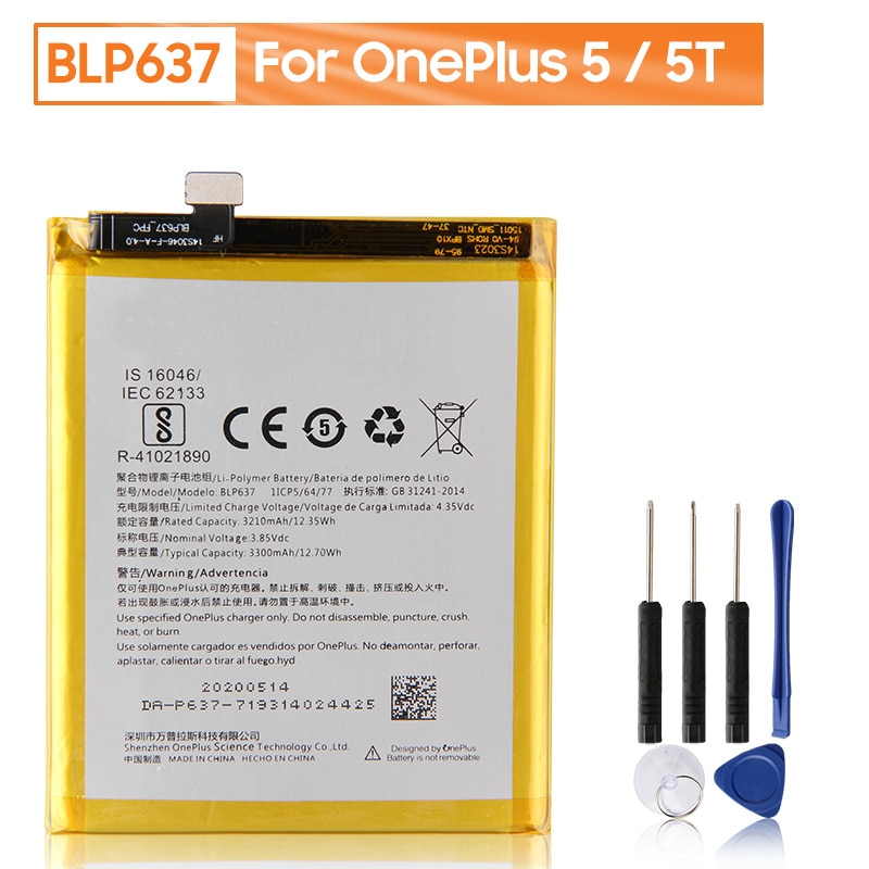Original OnePlus Replacement Phone Battery BLP637 For OnePlus 5 5T One Plus 5 5T Genuine Phone Battery With Free Tools 3300mAh недорого