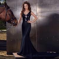paillette sequin mermaid trumpet v neck sweepbrush floor length sleeveless open back evening dresses black fashion sexy