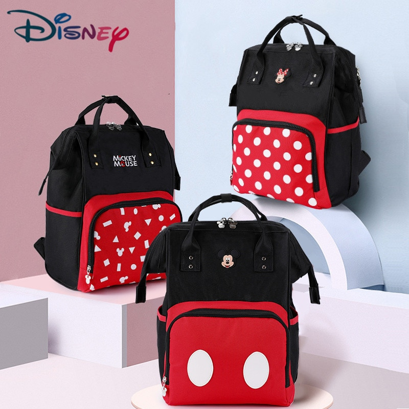 Disney Mickey Mouse Mummy Diaper Bag Large Capacity Baby Minnie Travel Backpack Nursing Bags Maternity Nappy Bag For Baby Care disney mickey mouse diaper bag waterproof baby care mummy bag maternity backpack large nappy bag oxford cloth baby bag