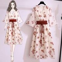 womens dress japanese summer chiffon cute floral lace high waist traf maiden dresses fashion retro v neck lace y2k female dress