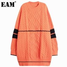 Женское трикотажное платье EAM, оранжевое платье с круглым вырезом и длинным рукавом, Осень-зима 2021, 1DD3251