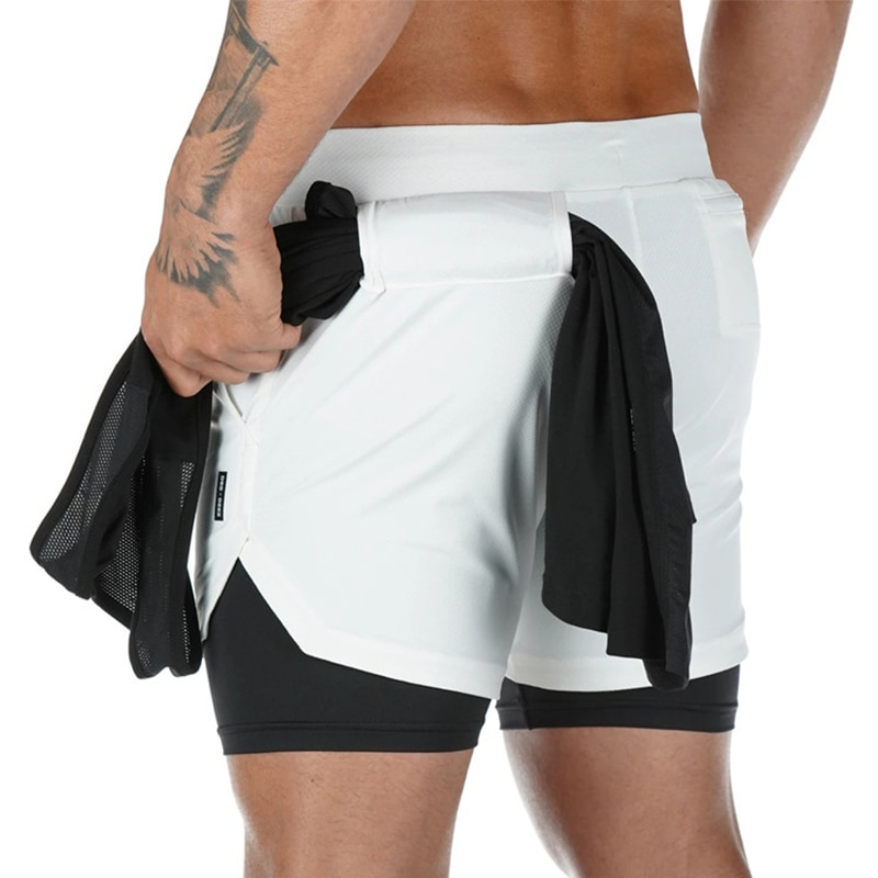 Double layer Jogger Shorts Men 2 in 1 Short Pants Gyms Fitness Built-in pocket Bermuda Quick Dry Bea