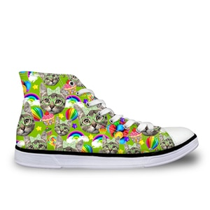 HaoYun Women Casual Canvas Shoes Cats Sticker Prints Pattern Student Girls Vulcanized Shoes Feminino Ladies Flat Walking Shoes