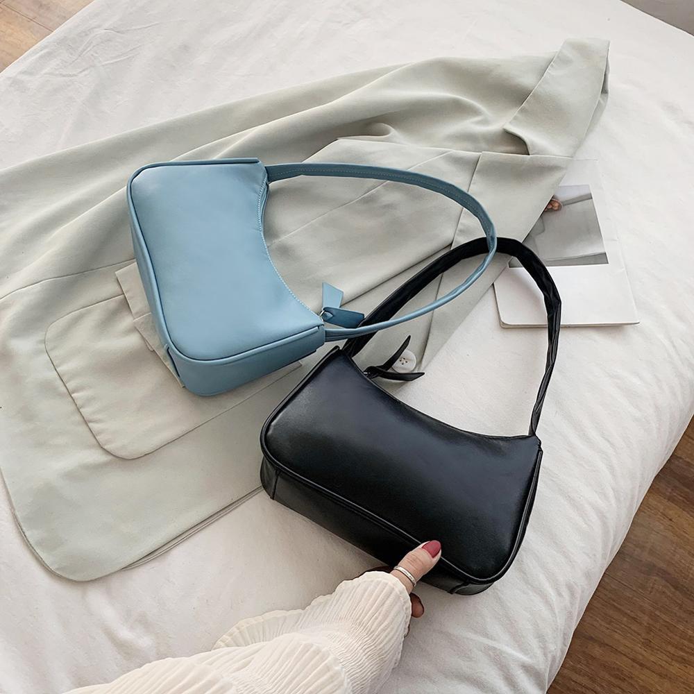 Retro Solid Color Pu Leather Shoulder Bag Small Underarm Bags For Women 2020 Mini Baguette Bag Bolsa Lady Elegant Totes Handbags Shoulder Bags Aliexpress